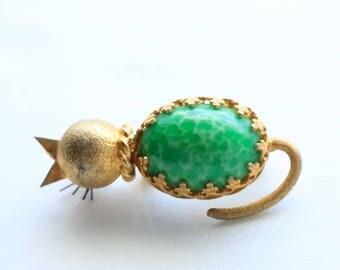Gold Cat Brooch - Kitty Cat Brooch - Cat Jewelry