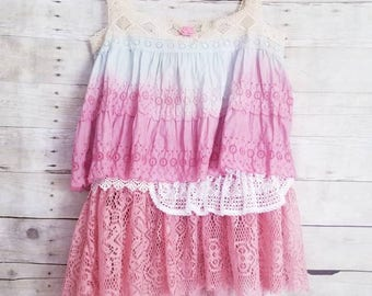 Pink Sunshine Shabby ombre mori floral rustic Boho lace altered lace artsy cami top tunic artsy M L XL
