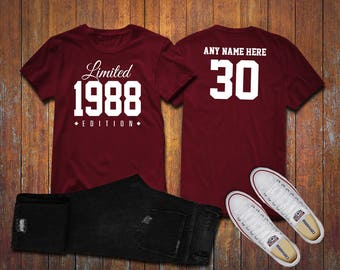 1988 Limited Edition 30th Birthday Party Shirt, 30 years old shirt, limited edition 30 year old, 30th birthday party tee shirt Custom