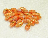 Paper Beads, Loose Handmade Craft Supplies Jewelry Supplies Bright Orange with Lg Gold Foil Dots