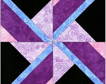 Spinning Dreams Pinwheel 15 Inch Block Paper Template Quilting Block Pattern PDF