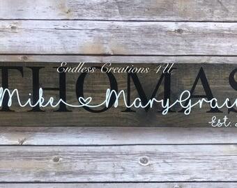 Established last name family wood sign/ names est. date/ name sign/ date est. sign