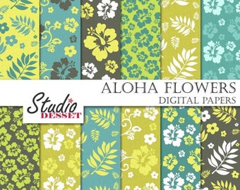 SUMMER SALE - 55% OFF Hawaii Paper, Blue Hawaii Flowers and Leaves Backgrounds, Summer Papers, Hibiscus Papers Scrapbooking Supplies A183