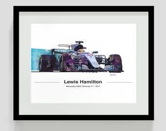 Lewis Hamilton 2017 Limited Edition Mercedes Petronas F1 Art -White BG