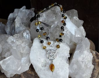Necklace of Jet and Amber beads with a focal Sterling Silver Pentagram