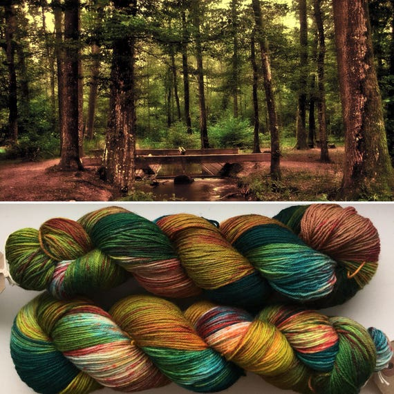 Autumn is Coming II, indie dyed merino nylon sock yarn in speckled fall greens