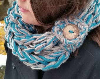 Infinity Scarf SALE, Button Scarf, Teal Scarf, Crochet chain Scarf, Long infinity scarf, Scarf, Gray, Grey, Button Cuff scarf, Chunky Scarf