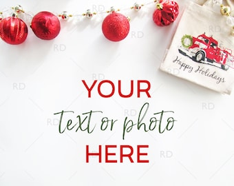 Christmas Styled Desk Mockup / Pack of 6 Styled Stock Photography / Styled Photo for Blog Website / Desk Mockup / Christmas Items on a Desk