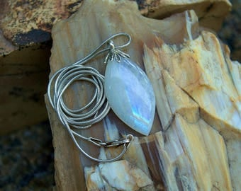 Rainbow Moonstone marquise cut gemstone pendant with solid silver bail and necklace