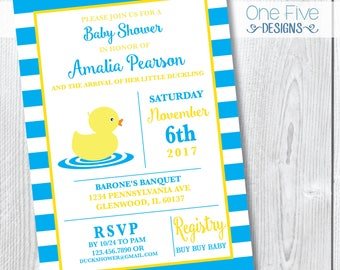 Baby Shower Invitation - Rubber Ducky Theme - Printable (5x7)