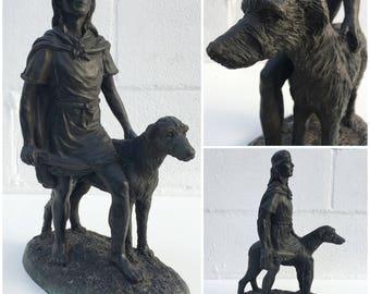 FREE SHIPPING in US,Irish Statue Jeanne Rynhart Cuchulainn Irish hunter Sculpture ,vintage Irish Art,hunting statue, Boy statue, dog statue