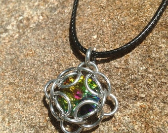 Large Multi Colored Swarovski Crystal with Greens and Pinks Captured in a Square Chainmail Setting, Chainmail Captured Crystal Pendant