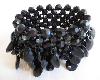 Bracelets - Black Beaded Bracelet - VIntage Beveled Plastic Beads - WOW! Expandable Length - Gorgeous Statement Jewelry!