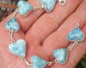 blue hearts LARIMAR stone  925 Sterling silver BRACELET (BH-15)