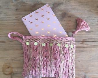Ibiza stylerose and gold  hand bag, handmade crochet cotton bag , summer bag, beach bag, boho ,crochet