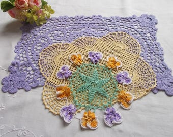 Crochet doily set - vintage doilies, vintage crochet, vintage tray cloth, dressing table set, wedding decor, afternoon tea, gift for mum