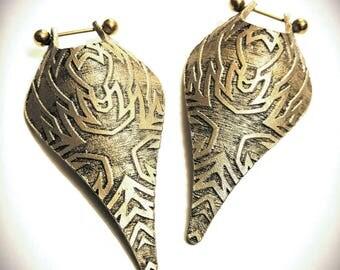 Tribal Laser Engraved Leather Shield Earrings - 14 Gauge - Earrings for stretched ears - Tunnel earrings - Gauged earrings - Antique Bronze
