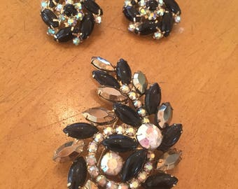 Brooch and Earring Black and Crystal 1960's Set