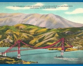 Vintage Linen Postcard - Ship Going Under the Golden Gate Bride in San Francisco, California  (2574)