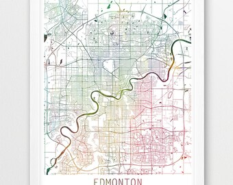 Edmonton map etsy edmonton city urban map poster edmonton street map print watercolor map edmonton canada gumiabroncs Images
