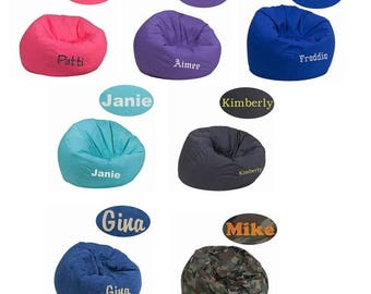 LARGE Adult teen kids personalized bean bag chairs- embroidered chairs