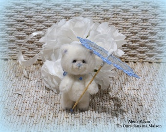 VENDUE *** !!  Aléna ours papillon d'artiste miniature 8.5cm collection et son ombrelle de dentelle fsl 100% fait main pièce unique OOAK