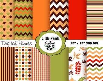 60% OFF SALE Fall Digital Scrapbooking Paper  - Instant Download - D154