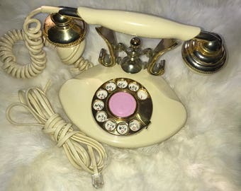 Vintage Princess Phone ~Works~ Shabby Chic Decor * Princess Telephone Fancy Girly French Rotary