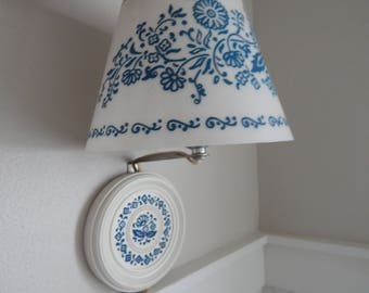Plug-In White with Blue Detailing Bedroom Wall Light Lamp Sconce - 1960s Home Lighting - Guest Room or Child's Room Light - Nursery Light