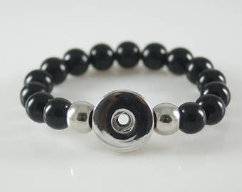 KB4583 - Black Pearl Elastic NOOSA Style Bracelet for Snap It Chunk Charms