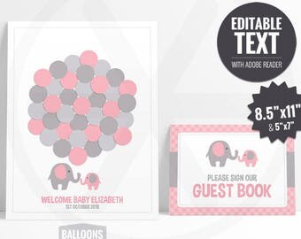 Baby Shower Guest Book Alternative. Pink Elephant Guest Book. Guest Signs. Pink and Gray Girl Baby Shower Guests Keepsake.Printable Editable