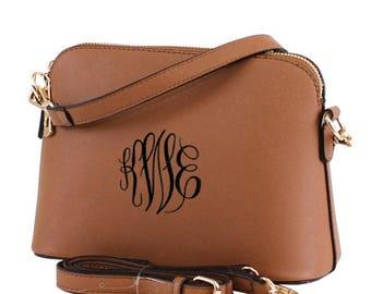 COFFEE Monogram Crossbody Bag   Leather Purse   Leather Bag   Shoulder Bag   Embroidered Purse   Preppy Cross body Bag   Vegan Leather, Gift