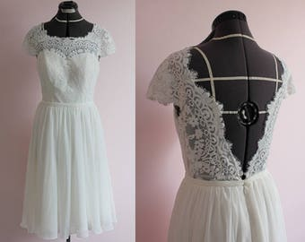 Lace wedding dress with open v back/ short lace wedding dress/ sleeves short chiffon wedding dress/ Short knee length wedding dress/ flowy