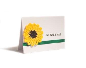 Get well Soon Sunflower card, handmade crocheted sunflower - Get well soon