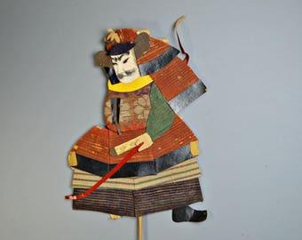 1800's Antique Oshie Japanese Silk Kimono Doll Samurai Kabuto Armor