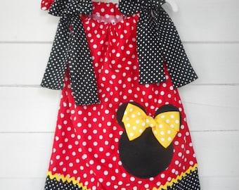 Minnie Mouse Pillowcase Dress Minnie Mouse Dress Minnie Mouse Hair Bow Girls Character Dress