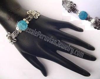 Round Turquoise Stone Alpaca Silver Curls Bracelet Peruvian Jewelry - Handmade in Peru