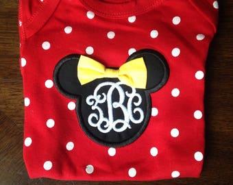 Minnie Mouse Disney inspired Monogram Baby Onesie