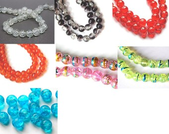 10 //coloris choice 8mm Crackle glass beads