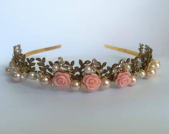 Bridal headwear, Delicate pink rose  Bridal tiara