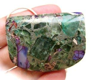 Fluorite Sea Sediment Pyrite Composite Pendant Chain Necklace