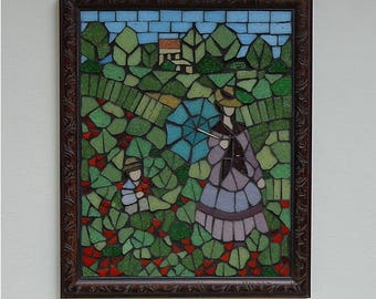 Mosaic Wall Art on a wood board, Framed, Glass Mosaic, Wall Hanging, Poppy Field, Inspired by Claude Monet's Painting (About 9x11 inches)