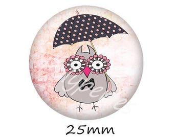 1 cabochon 25mm glass owls dots umbrella stand