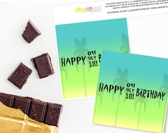 Printable Ombre 18th Birthday Hershey Bar Wrappers, Printable Ombre Aloha Luau Tropical Birthday Candy Bar Wrappers by SUNSHINETULIPDESIGN