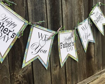 Printable Happy Father's Day Banner, Printable Plaid We love you Fathers Day Banner by SUNSHINETULIPDESIGN