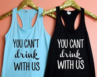 July Sale Bachelorette Party Fitted Racerback Tank Top, XS-2XL, Bachelorette Party Shirts, You Can't Drink With Us, Wine Tasting Trip