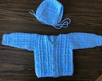 Baby Boy Bonnett and Sweater Set