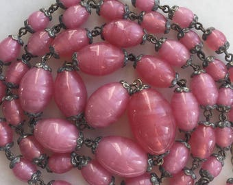 Vintage 1930's Long Pink Czech Glass Beads Necklace