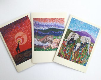 Art Nouveau Pagan Art Elephant Giraffe Lion African Wildlife Greeting Cards Colorful Folk Art Designs Pack of 3