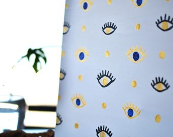 Gold Eye Art, Painting, Minimalist, Spiritual Blue, Abstract, Boho Wall Art. Modern Bohemian Decor. Wanderlust decor.